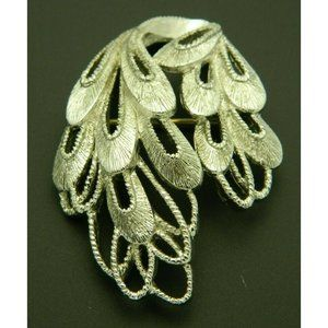 Silver Tone Signed MONET Brooch Pin Openwork Abstr